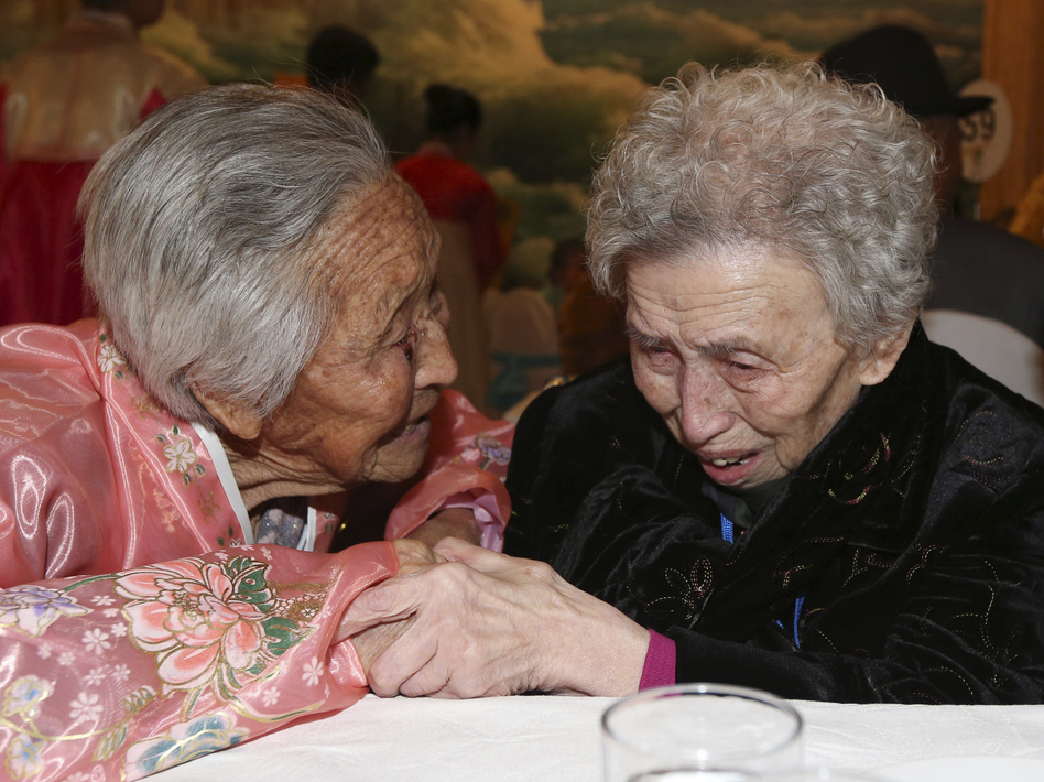 South Korean Lee Young-shil, 87, right, meets with her North Korean sister Lee Jong Shil, 84, during the Separated Family Reunion Meeting at Diamond Mountain resort in North Korea, on Thursday. Lee Ji-eun/AP