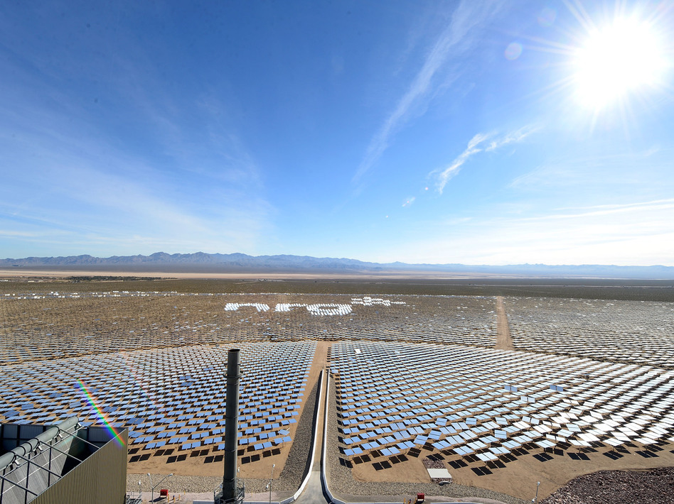 NRG celebrates the future of solar energy at the grand opening of the Ivanpah Solar Electric Generating System, on Thursday, in Nipton, Calif. Jeff Bottari/Invision for NRG