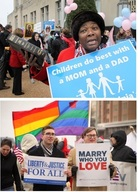 Supporters of same-sex marriage and opponents were out when the challenge to Virginia's law was heard in a Norfolk federal court earlier this month.Jay Paul/Getty Images