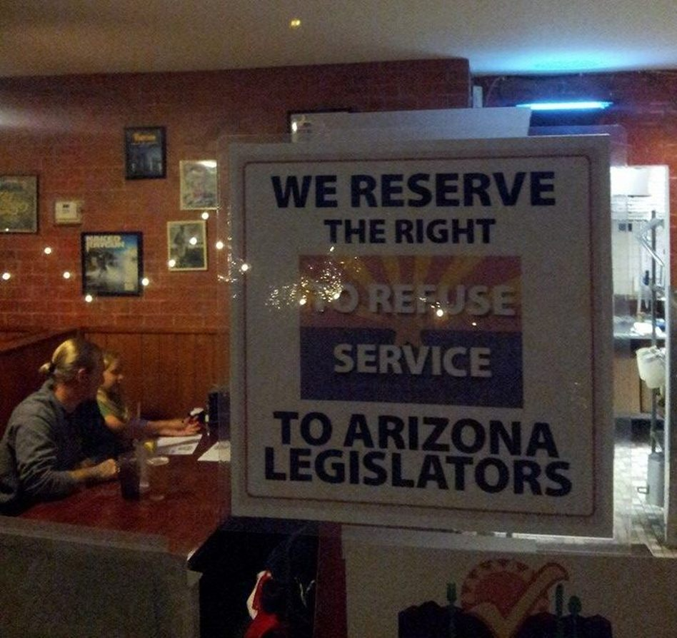 The Tucson restaurant Rocco's Pizzeria created a stir when it posted a sign in its dining room reacting to a new Arizona bill that would allow businesses to refuse to serve gays and others if they offend proprietors' religious beliefs. Rocco's Pizzeria