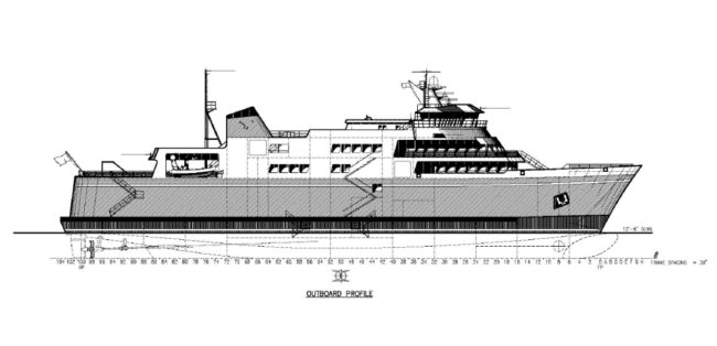 A 70 percent design drawing of the proposed Alaska Class Ferry. State DOT officials hope to have final design complete by the end of February. Image courtesy Alaska Department of Transportation and Public Facilities.