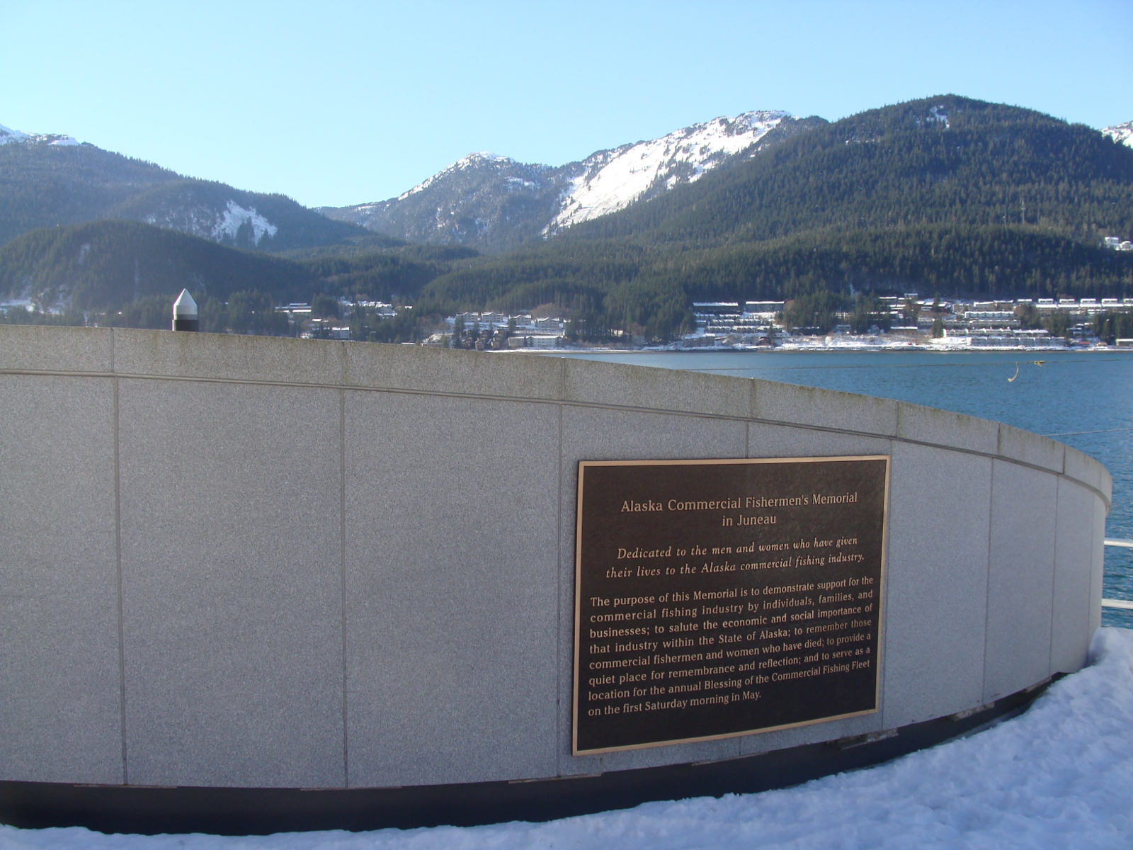 The Alaska Commercial Fishermen's Memorial on Juneau's downtown waterfront. (Photo by Casey Kelly/KTOO)