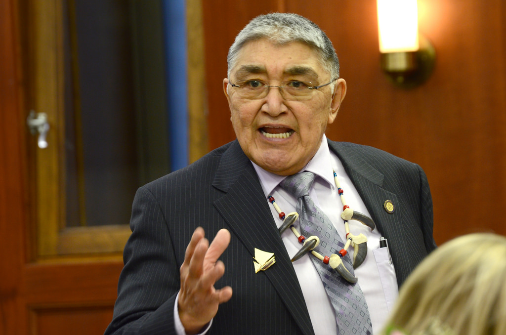 Rep. Benjamin Nageak speaks on the House floor, Jan. 21, 2014. (Photo by Skip Gray/Gavel Alaska)
