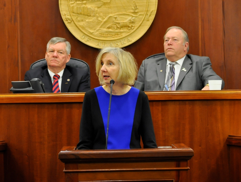 Alaska Supreme Court Chief Justice Dana Fabe addressed the legislature on Wednesday. Photo by Skip Gray/KTOO.