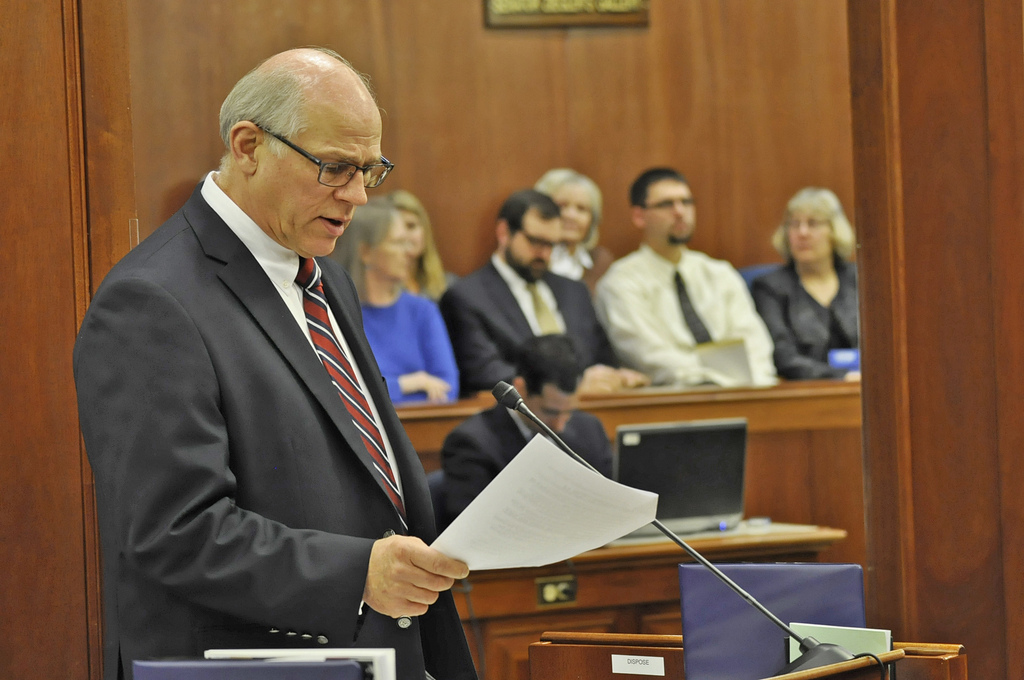Sen. John Coghill speaks on the floor of the Alaska Senate, Feb. 10, 2014. (Photo by Skip Gray/Gavel Alaska)