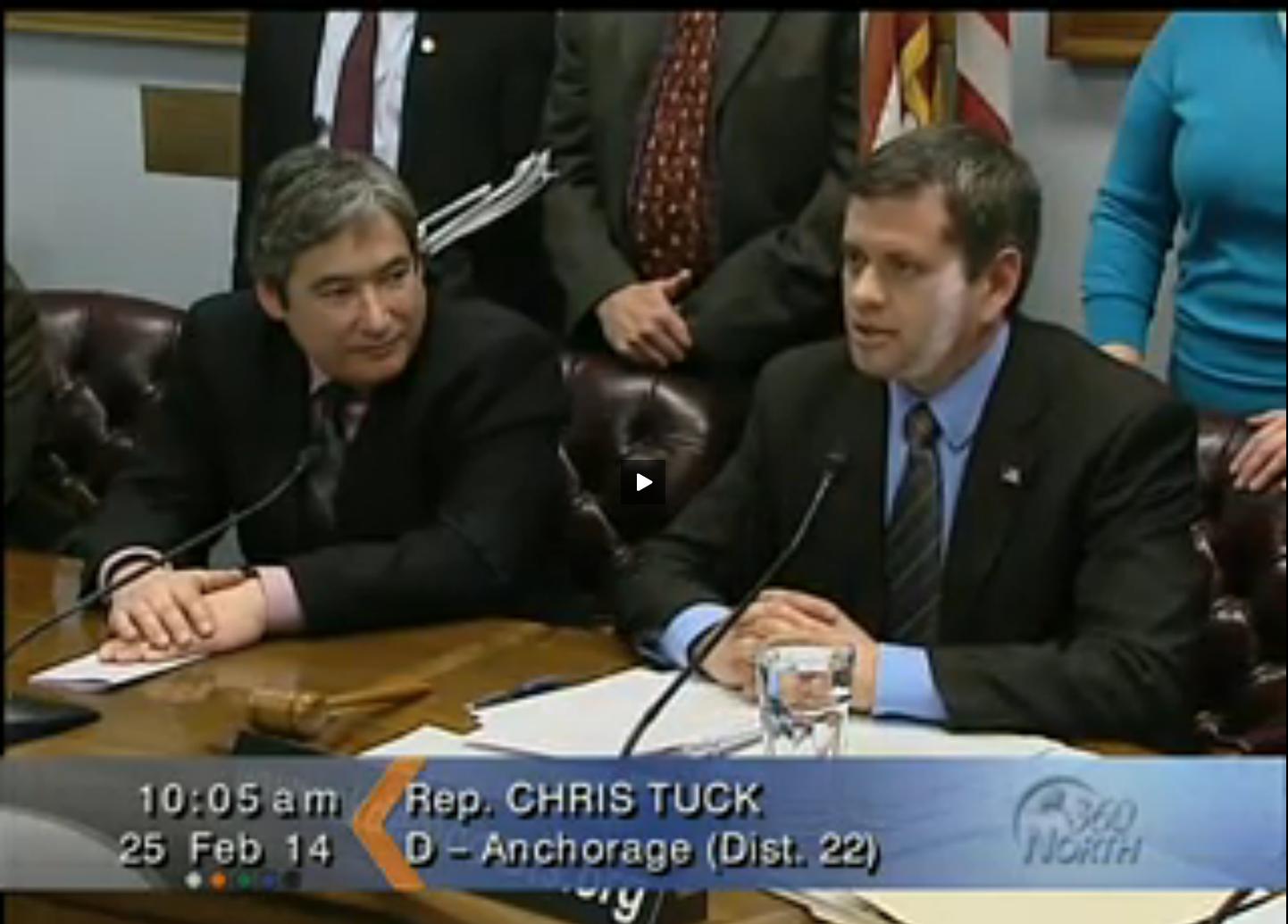 Chris Tuck and Sam Kito III during the February 25, 2014 House Minority Press Availability. Screenshot courtesy of Gavel Alaska.