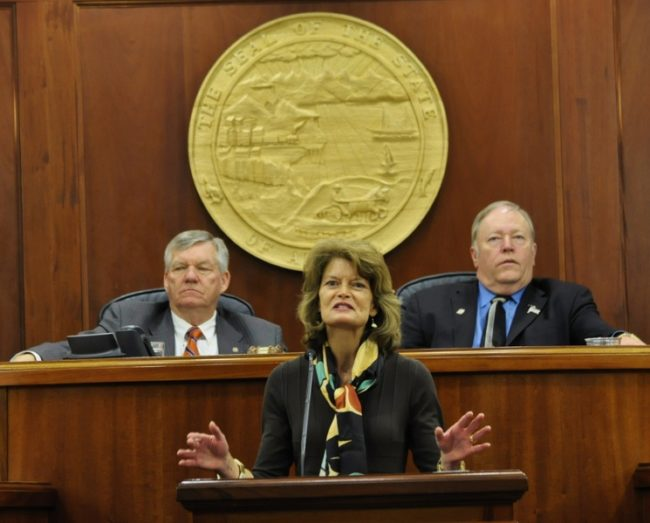Sen. Lisa Murkowski, R-Alaska, addressed a joint session of the state legislators on Wednesday. Photo by Skip Gray/Gavel Alaska.