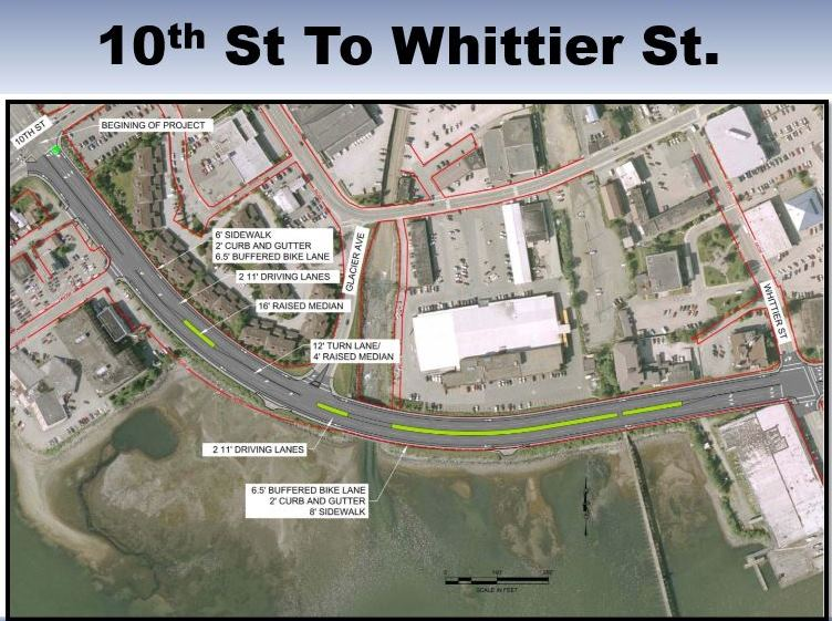 DOT map shows a section of the work to be done in 2015 from Main St. to 10th St. CBJ will also install a new water main.