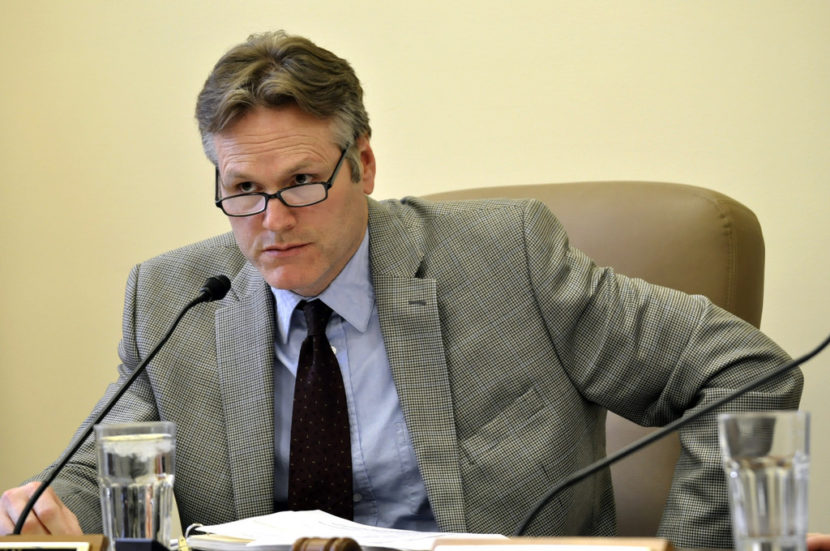 Sen. Mike Dunleavy, chairman of the Senate Labor and Commerce committee, listens during a meeting of the committee, Feb. 18, 2014. (Photo by Skip Gray/Gavel Alaska)