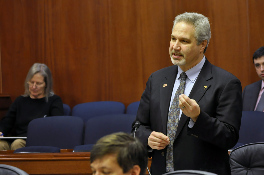 Sen. Pete Kelly addresses the Alaska Senate, Feb. 14, 2014. (Photo by Skip Gray/Gavel Alaska)