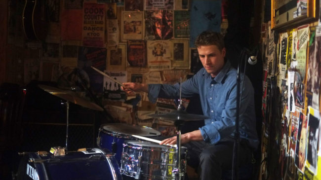Nick Wager plays drums at the Alaskan on Jan. 30, 2014