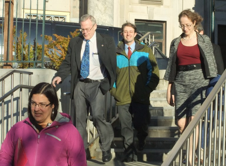Tongass Democrats' chairman Nancy Courtney & Juneau Sen. Dennis Egan lead nominees Jesse Kiehl, Catherine Reardon & Sam Kito III to Court House Plaza to meet with reporters.