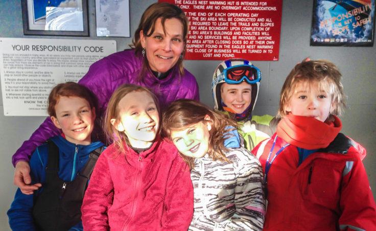 Some Mighty Mites warm up in Eagles Nest with coach Hilary Lindh. (L-R) Annika Schwartz, age 10; Minta Schwartz, 8; Raiya McCutcheon, 8; Aubrey Hekkers, 10; Benjamin Goldstein, 8, (next to Lindh in back)