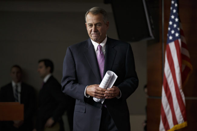House Speaker John Boehner of Ohio arrives for a news conference on Capitol Hill in Washington, on Thursday. J. Scott Applewhite/AP