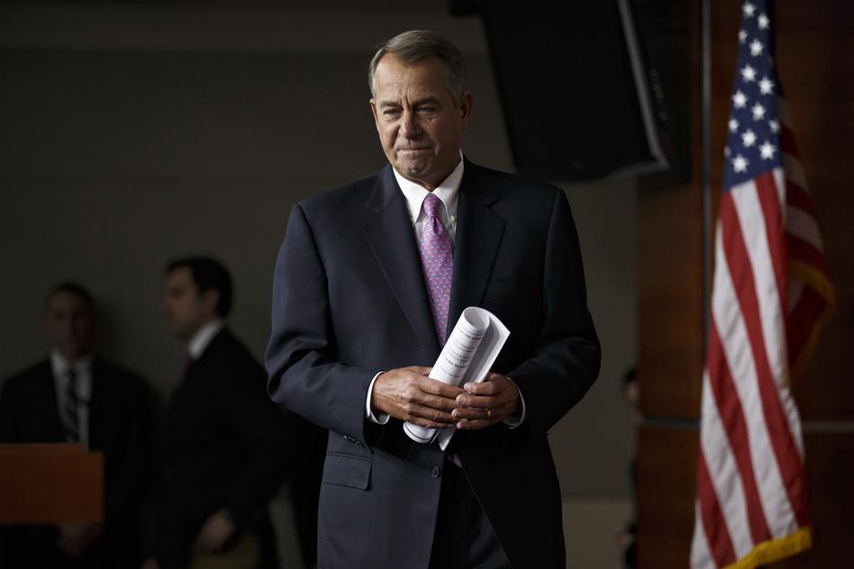 House Speaker John Boehner of Ohio arrives for a news conference on Capitol Hill in Washington, on Thursday. J. Scott Applewhite/AP