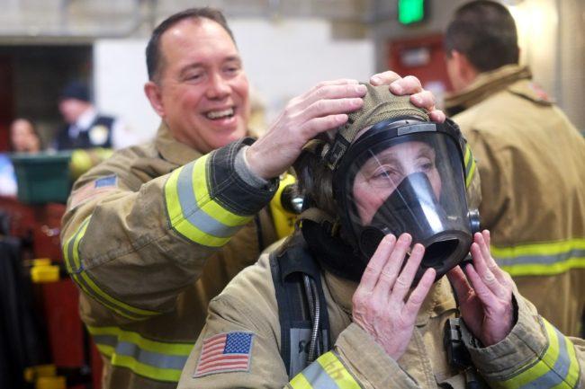 Firefighter Joe Mishler & Assembly member Kate Troll