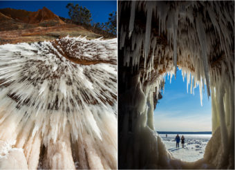 Scenes from the Apostle Islands National Lakeshore in Bayfield, Wis., where Lake Superior's ice is thick enough to walk to the area's sea caves for the first time in five years. Derek Montgomery/for MPR News