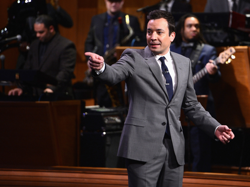 Jimmy Fallon during his debut Monday as host of NBC's The Tonight Show. Theo Wargo/Getty Images for 'The Tonight Show'