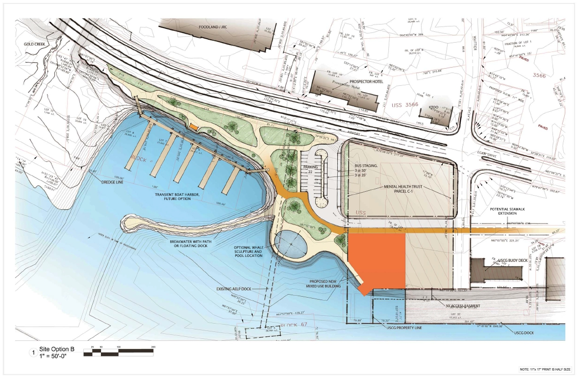 Preliminary design drawing of a proposed development at the subport lot in Juneau. Image courtesy Paul Voelckers.