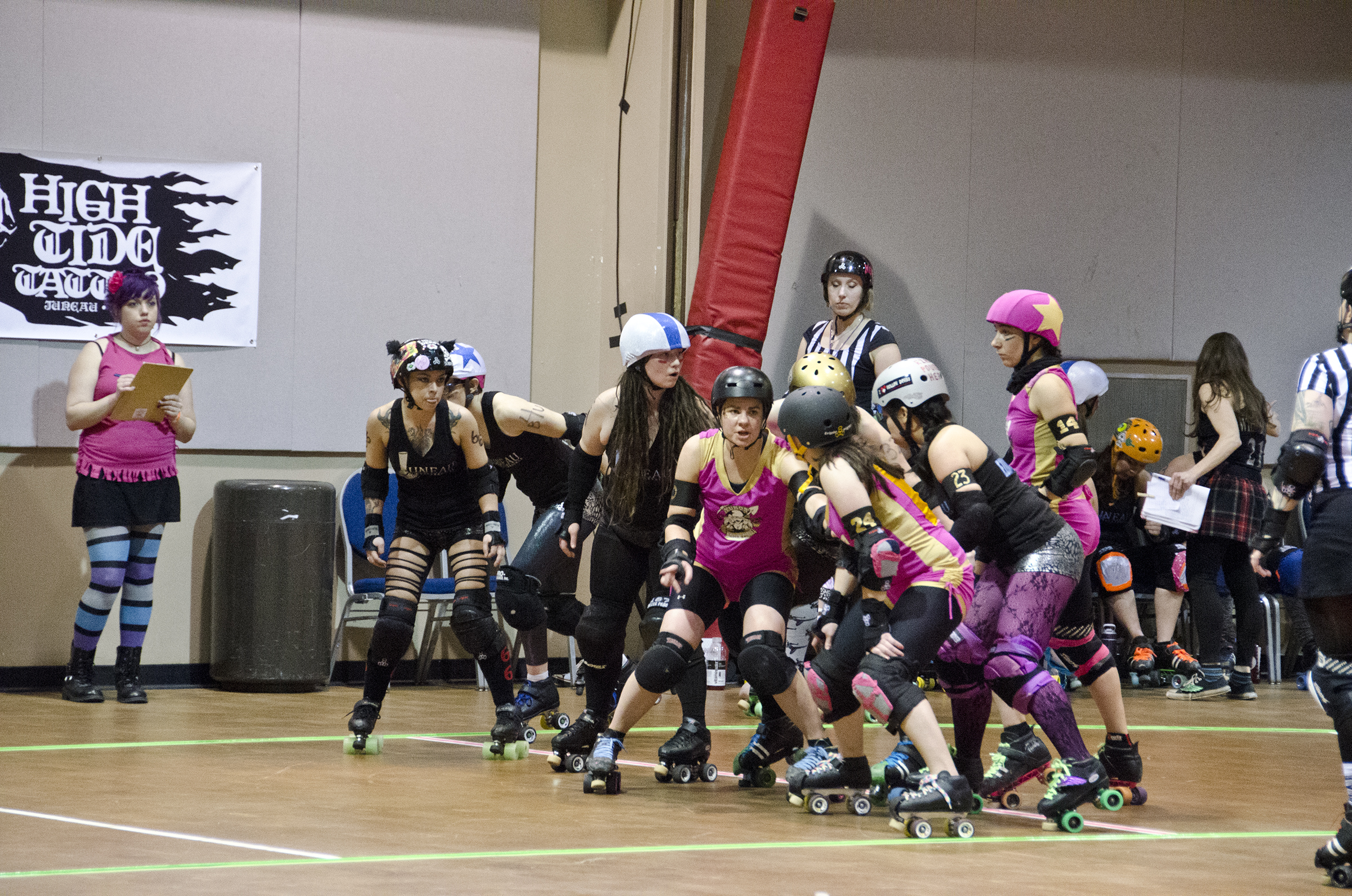 Juneau Rollergirls at their bout last Feburary. (Photo by Greg Culley)