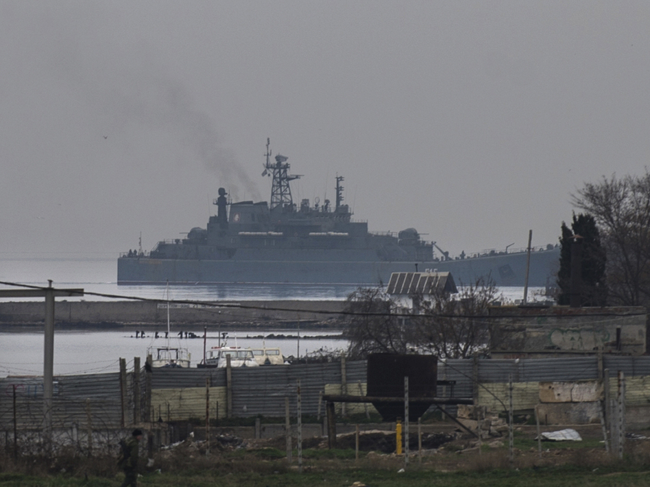 A Russian naval landing vessel enters one of the bays of Sevastopol, Crimea, on Sunday. Andrew Lubimov/AP