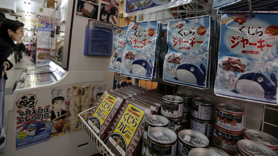Japan must stop issuing permits to hunt whales in the Antarctic, an international court ruled Monday. Here, packs of whale meat are seen in a specialty store in Tokyo last week. Shizuo Kambayashi/AP