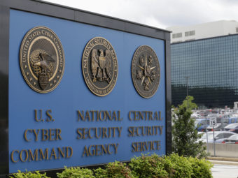 The sign outside the National Security Agency campus in Fort Meade, Md. Patrick Semansky/AP