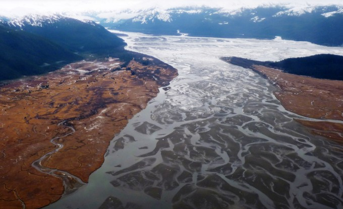 The Stikine River empties into the ocean near Wrangell. Mines and energy projects proposed for upstream sites in Canada are worrying some fishermen and tribal leaders. (Ed Schoenfeld/CoastAlaska News)
