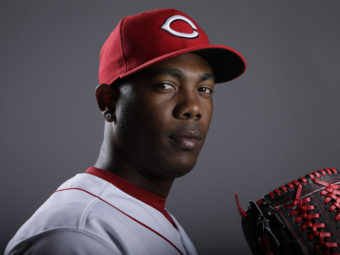 Cincinnati Reds pitcher Aroldis Chapman last month. Now, he's recovering from being hit in the face by a batted ball last night. Gregory Bull/AP