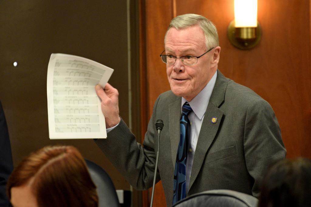 Sen. Dennis Egan, D-Juneau, addresses the Alaska Senate, March 27, 2014. (Photo by Skip Gray/Gavel Alaska)