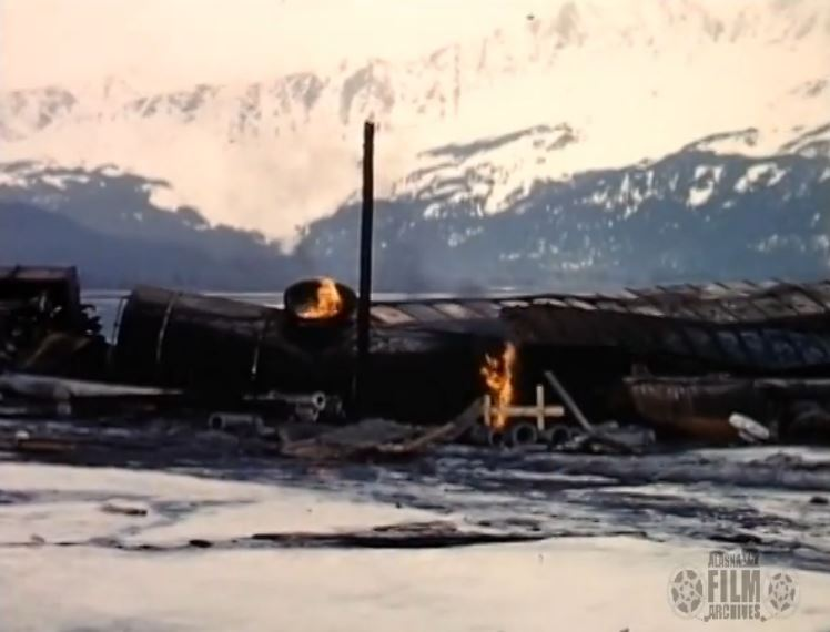 A still from one of the videos of the aftermath of the 1964 earthquake. (UAF)