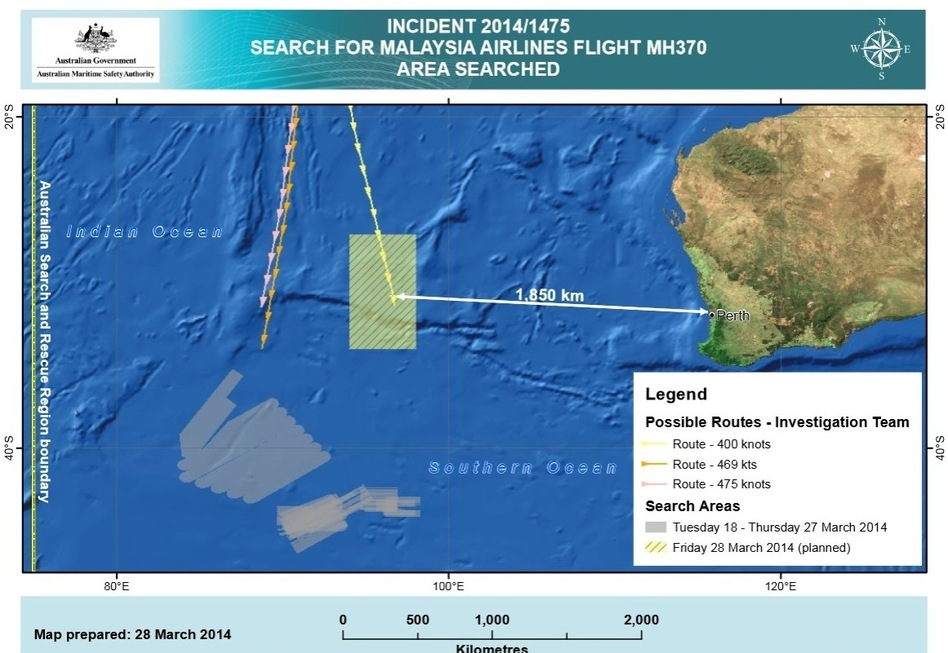 The new search area for Malaysia Airlines Flight 370 is about 1,100 miles west of Perth, Australia. Previous search areas are shaded gray and were about 700 miles to the southwest. Australian Maritime Safety Authority