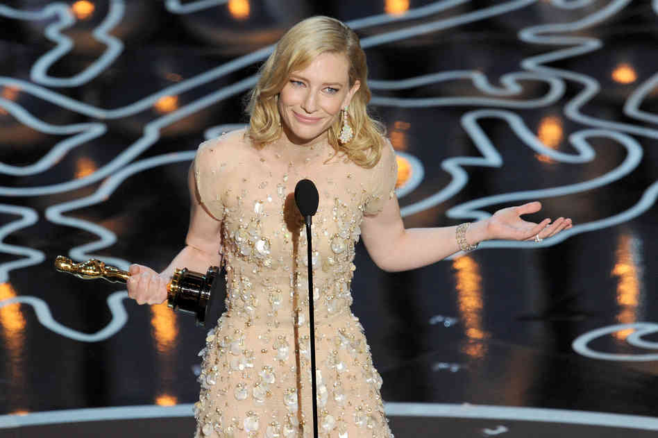 """Cate Blanchett took the Best Actress Oscar for Blue Jasmine, and promptly perplexed everyone by telling Julia Roberts to """"hashtag suck it."""" Kevin Winter/Getty Images"""