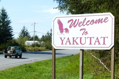 A sign welcomes visitors to Yakutat, a northern Southeast community of about 650 residents. (Ed Schoenfeld/CoastAlaska)