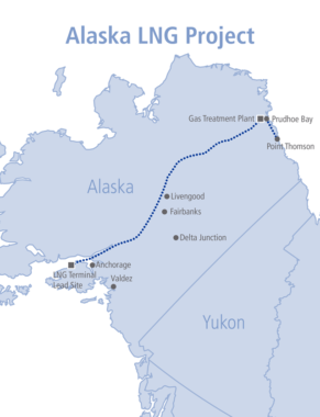 The proposed pipeline route for the Alaska LNG Project, a consortium of oil companies (Image from the Alaska LNG Project).