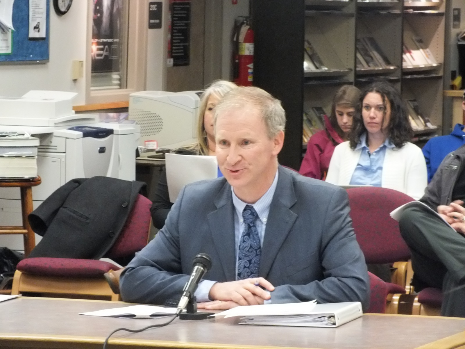 Brian Holst co-chaired the Juneau School District Budget Committee this year. He presented the committee's recommendations to the school board Tuesday night. (Photo by Casey Kelly/KTOO)