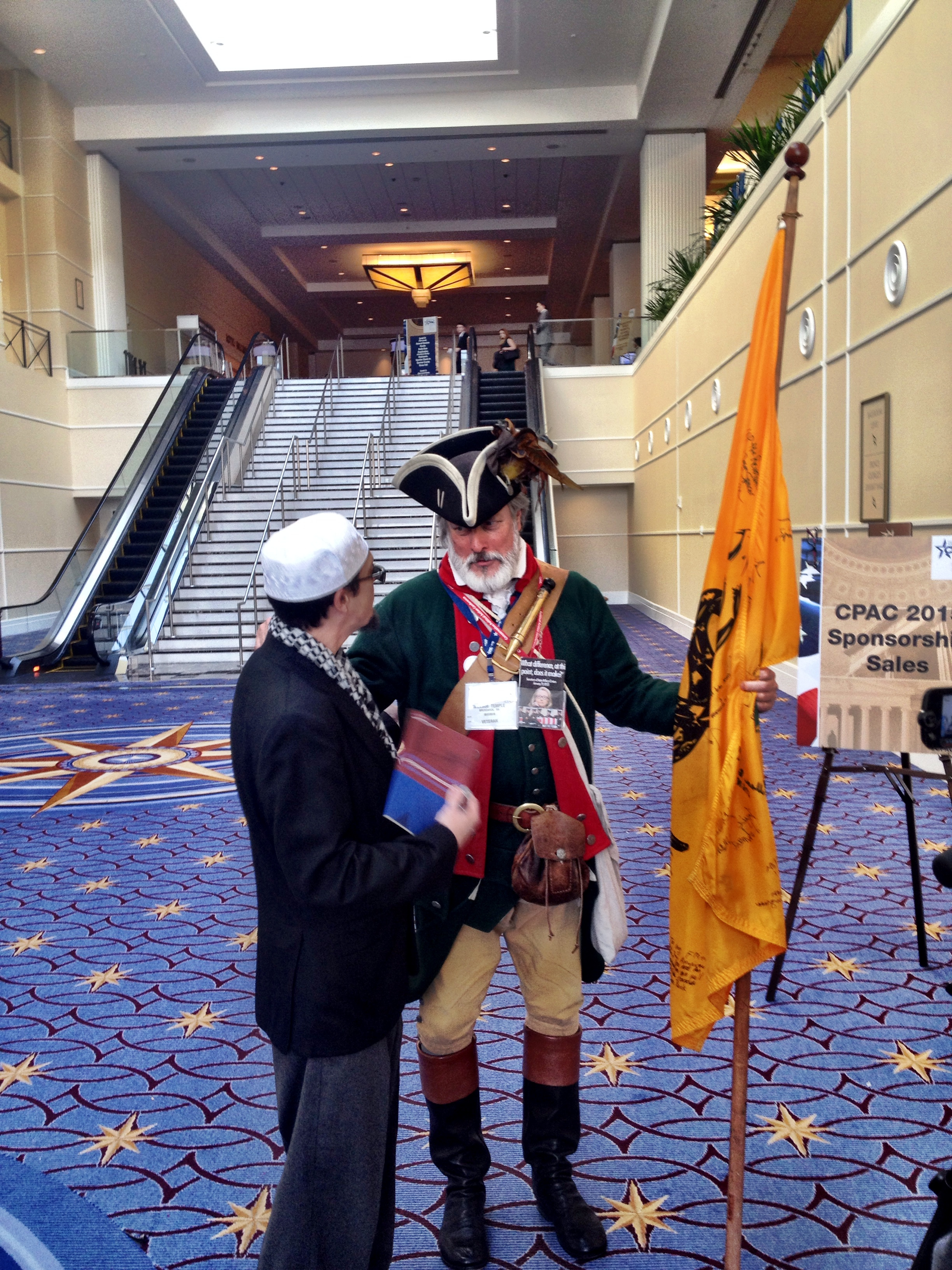 William Temple, one of 11,000 attendees of CPAC, came dressed as a Revolutionary War officer. CPAC is said to be the largest annual gathering of American conservatives. (Photo by Liz Ruskin/APRN)