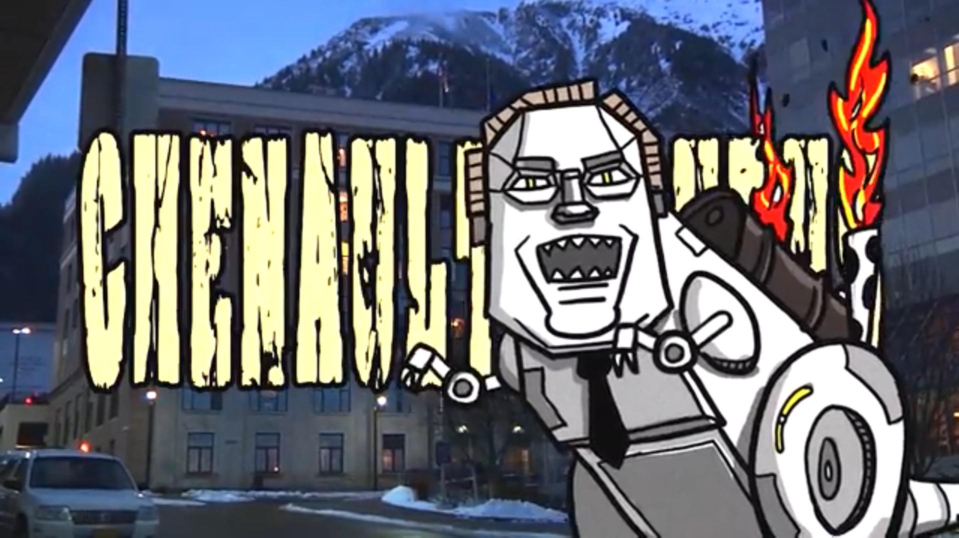 Alaska Robotics's latest satirical news short reimagines House Speaker Mike Chenault as a mechanized tyrannosaurus. (Screen capture courtesy Alaska Robotics)