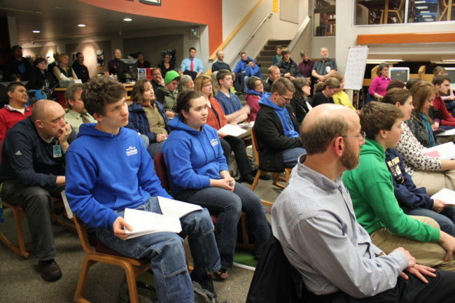 Tuesday night's Board of Education meeting had a packed audience. (Photo by Lisa Phu/KTOO)