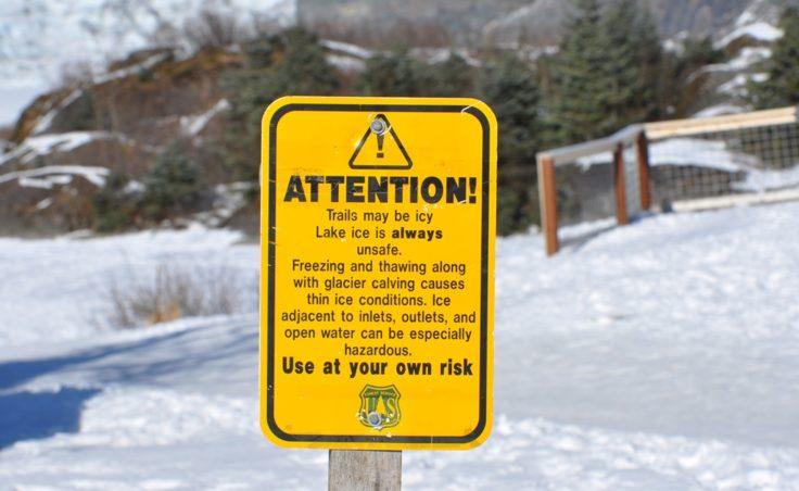 Mendenhall Lake ice sign