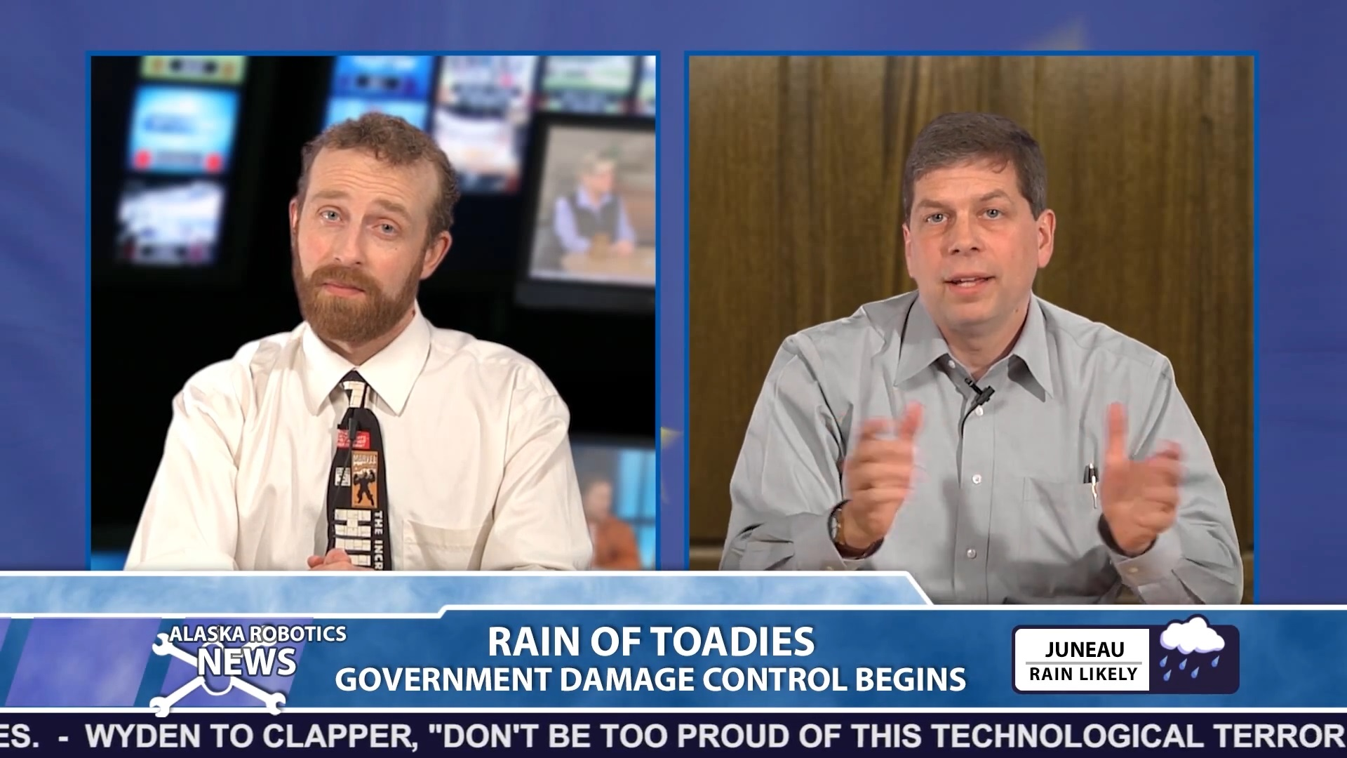 U.S. Sen. Mark Begich is Alaska Robotics' highest profile guest to appear on their satirical news show. (Screen capture courtesy Alaska Robotics)