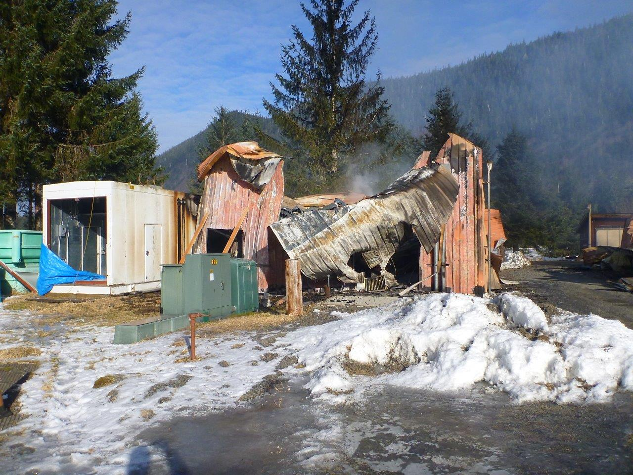 One of the burned hatchery buildings. (Photo courtesy ADF&G)