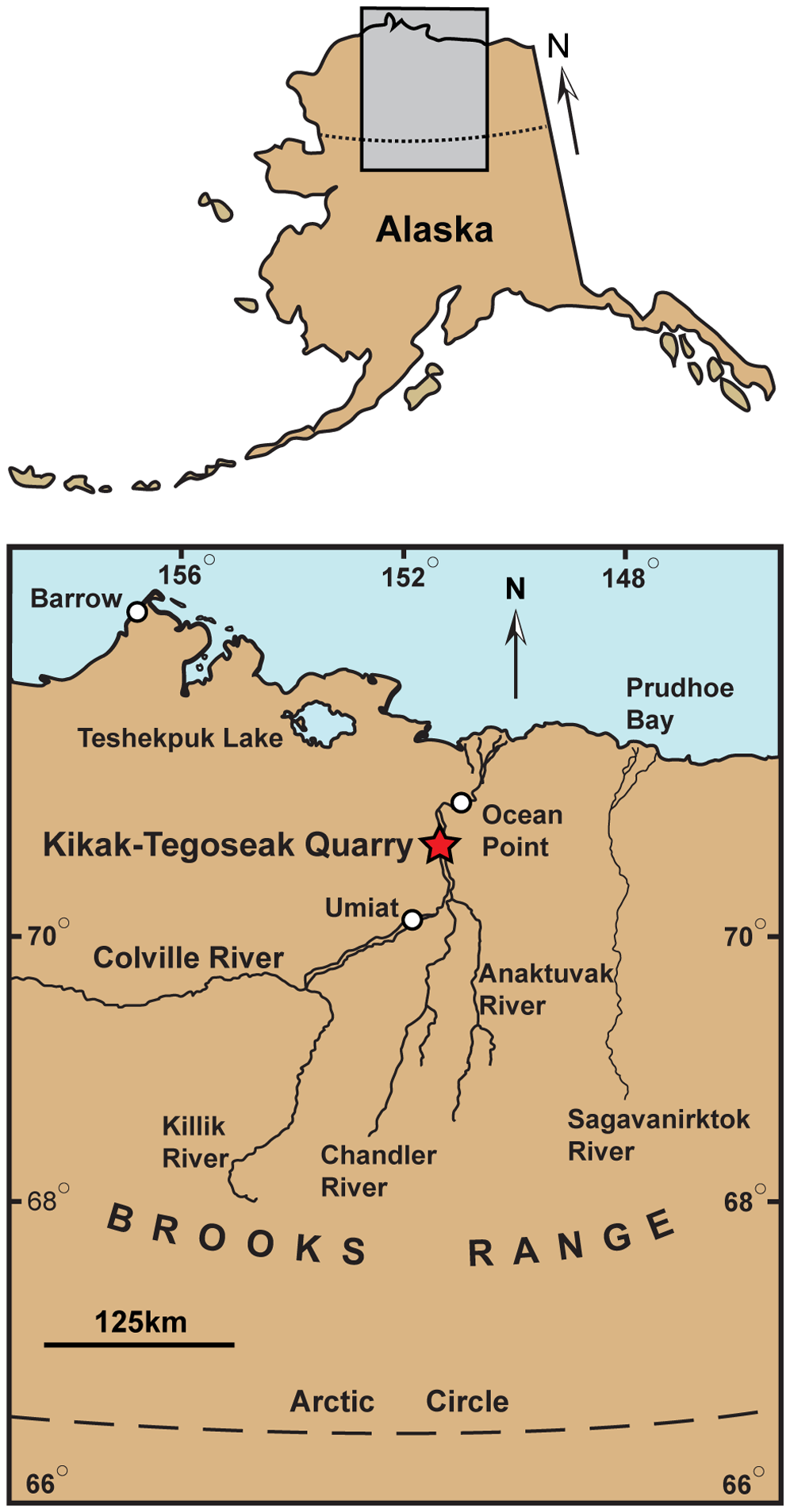 Map showing approximate location of the Kikak-Tegoseak Quarry. Gray rectangle indicates area seen in close-up view below. White circles indicate cities, towns, or settlements. Red star shows location of the Kikak-Tegoseak Quarry. (Courtesy PLoS)