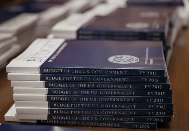 Copies of President Obama's proposed budget for fiscal 2015, after they were delivered to the Senate Budget Committee on Tuesday. J. Scott Applewhite/AP