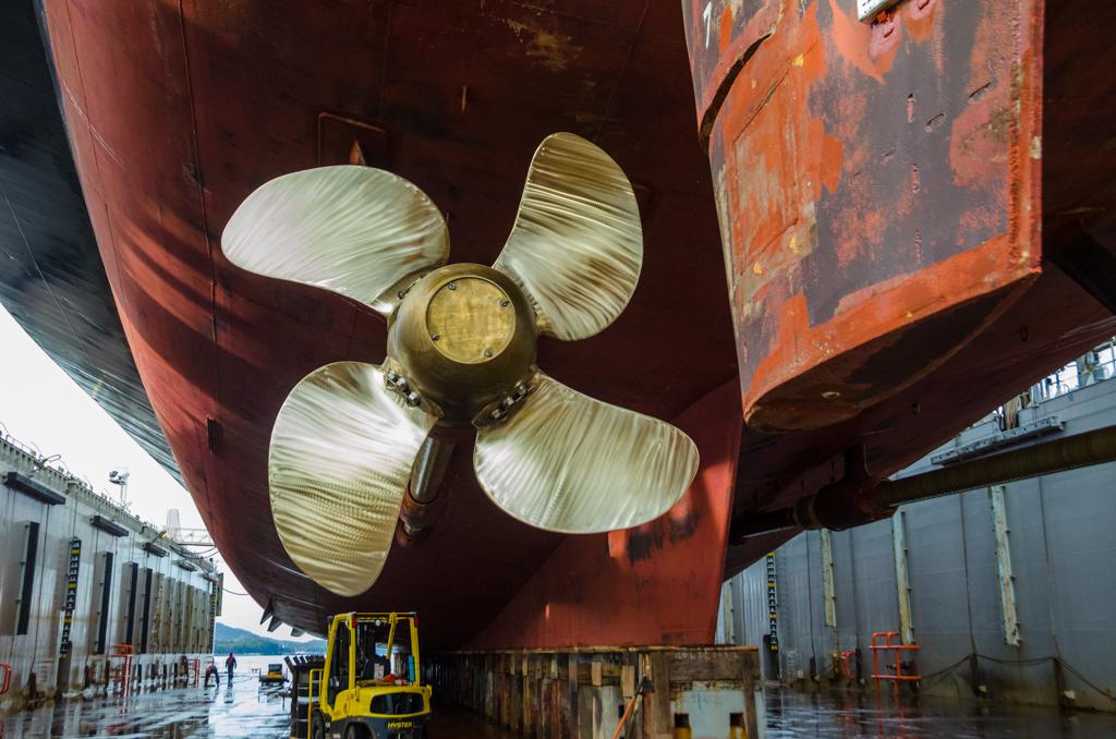 An up-close look at one of the Matanuska's propellors.