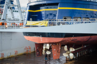 The Matanuska sits in drydock for maintenance.
