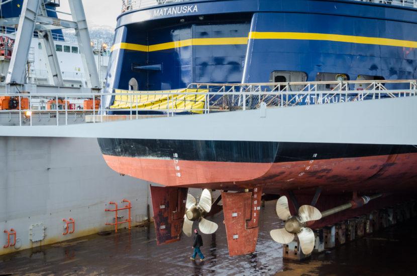 The Matanuska sits in drydock for maintenance.