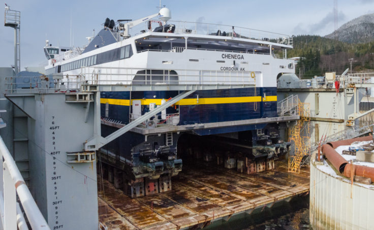 The M/V Chenega up on blocks in drydock at the Ketchikan Shipyard for maintenance and repairs. The Chenega is one of two fast ferries in the Alaska Marine Highway System. The ship has a service speed of 32 knots.