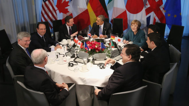 President Obama and other leaders met in The Hague. Clockwise from bottom left: European Union Council President Herman Van Rompuy, Canadian Prime Minister Stephen Harper, French President Francois Hollande, British Prime Minister David Cameron, Obama, German Chancellor Angela Merkel, Japanese Prime Minister Shinzo Abe, Italian Prime Minister Matteo Renzi and EU President Jose Manuel Barroso. Sean Gallup/Getty Images