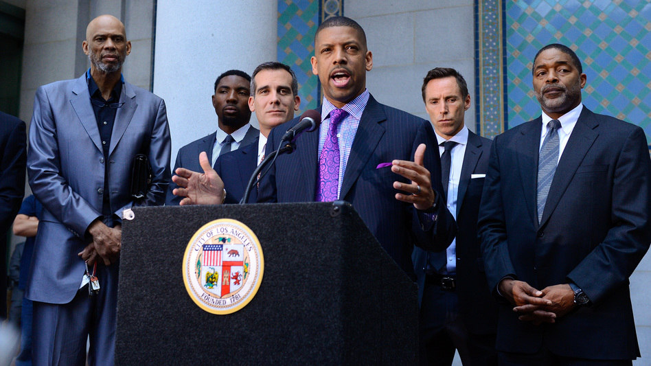 Former and current NBA players (from left) Kareem Abdul-Jabbar and Roger Mason, along with Los Angeles Mayor Eric Garcetti, Sacramento Mayor Kevin Johnson and the Lakers' Steve Nash and former Laker and Clipper Norm Nixon, welcome the NBA's ban of Clippers owner Donald Sterling Tuesday. Noel Vasquez/Getty Images